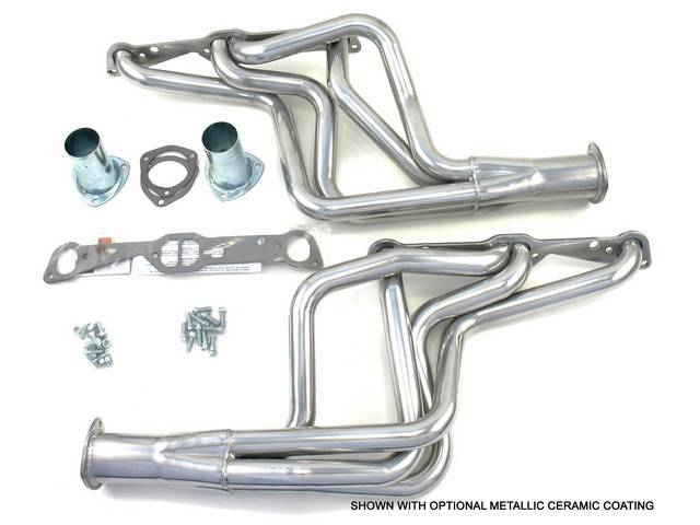 Headers, Full Length, 1 5/8 inch primary tube, SAP port and 3 inch collector w/ 2 1/2 inch reducer, Incl gaskets and header bolts, Raw steel finish, Patriot