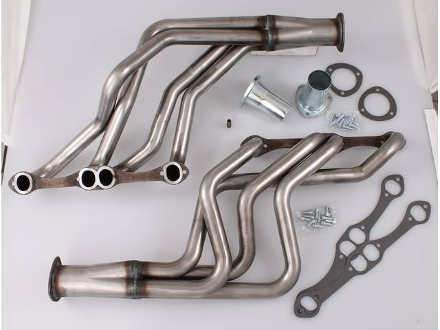 Headers, Full Length, 1 5/8 inch primary tube, Oval port and 3 inch collector w/ 2 1/2 inch reducer, Incl gaskets and header bolts, Raw steel finish, Patriot