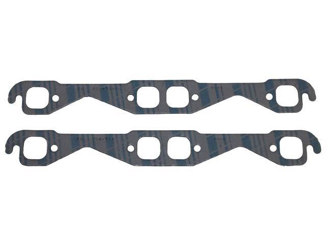 GASKET SET, Exhaust Header, 1.38 inch x 1.38 inch (stock port size, square port shape), Fel Pro, Perforated Steel Core w/ anti-stick backing