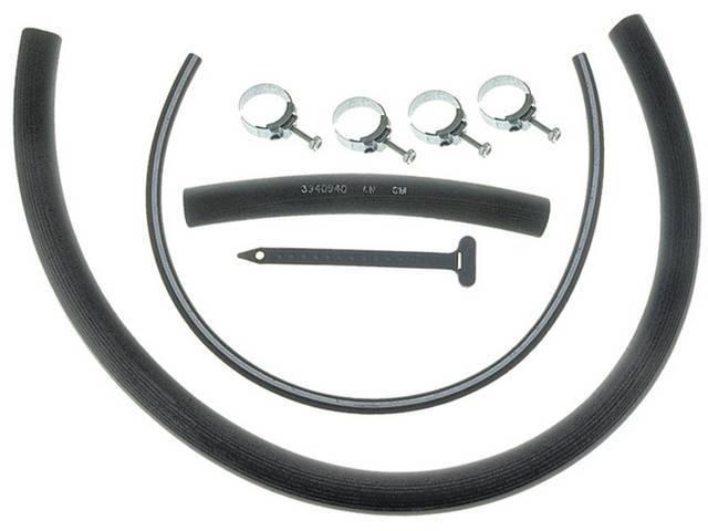 SMOG HOSE KIT, Incl white stripe hose, black hose tie, plastic tee and hose clamps, Repro