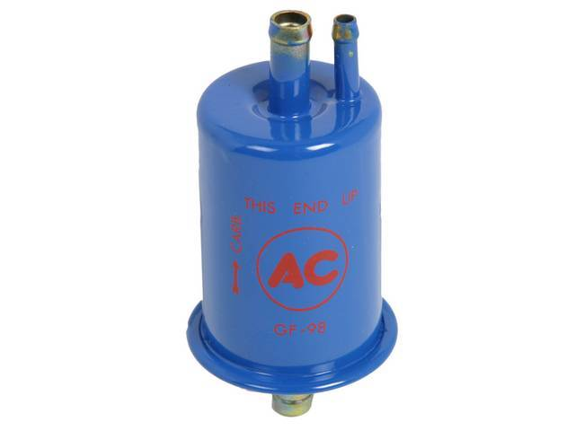 FILTER, Fuel, In-Line, correct blue body w/ red *AC GF98* lettering, 3/8 inch diameter inlet and outlet w/ extra vapor line inlet, repro