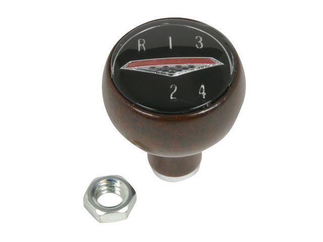 KNOB, Shift, Walnut, w/ 4 speed shift pattern, correct repro