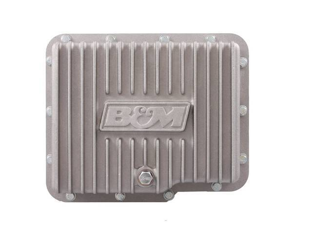 OIL PAN, Transmission, Deep (Adds 3 Quarts to Normal Capacity), Natural Finish Aluminum, B And M, Incl Drain Plug, Filter and Mounting Hardware