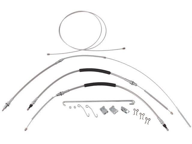CABLE KIT, Parking Brake, incl front, intermediate, and rear cables, plus hardware, for a complete installation, mild steel cables (OE style), repro