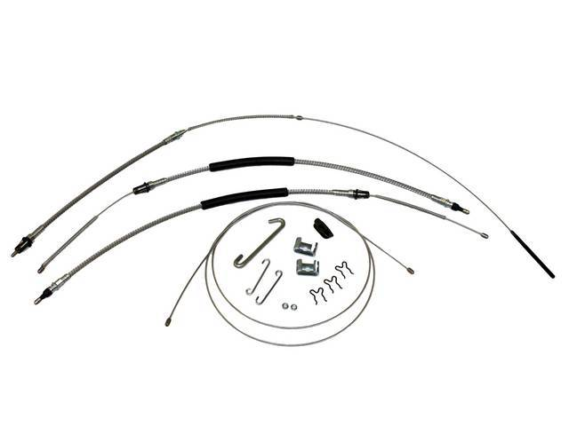 CABLE KIT, Parking Brake, incl front, intermediate, and rear cables, guide, and connectors, mild steel cables (OE style), repro