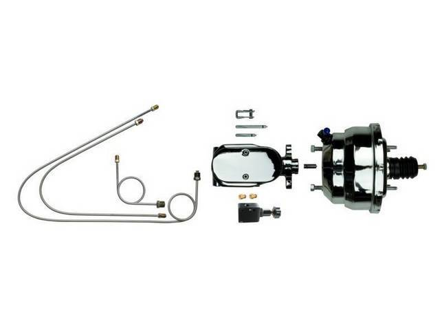 COMBO KIT, Booster and Master Cylinder, Chrome, Incl 9 inch booster and master cylinder, proportioning valve and small hard line kit, Street Bandit