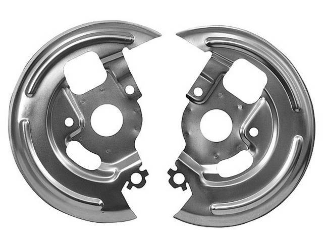 BACKING PLATE / SHIELD SET, Front Disc Brake Splash, replacement style repro  ** does not incl stamped OE number and edges are not as sharp **