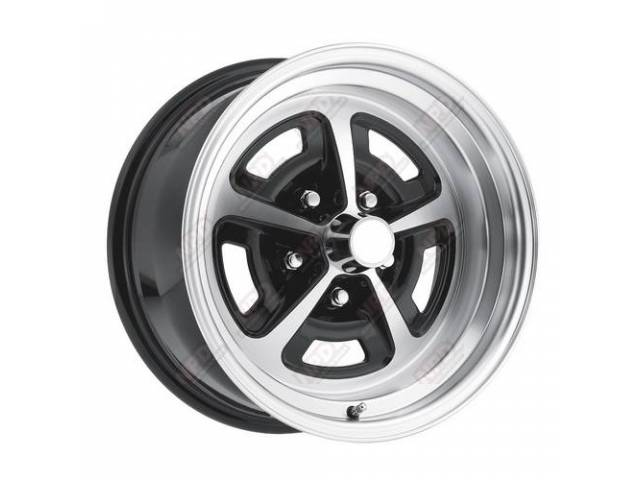 WHEEL, Magnum, Cast Aluminum, 15 Inch O.D. X 8 Inch Width, 5 x 4 3/4 Inch Bolt Circle, 4 3/4 Inch Back Spacing, CNC machined w/ gloss black accents clear coated for a durable long-lasting finish, center cap, valve stem and lug nuts sold separately, 17 lbs