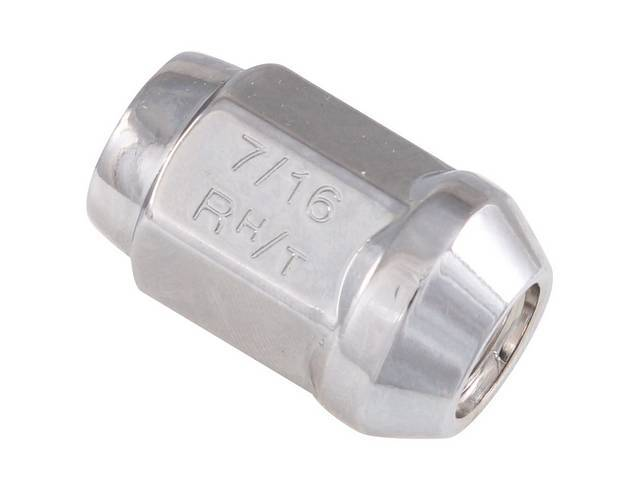 LUG NUT, Wheel, Torq Thrust, Hex Capped Cone Seat, 7/16 Inch -20 Thread, Chrome Finish, good quality repro  ** SEE C-5813-100K FOR BEST QUALITY MCGARD LUGS **