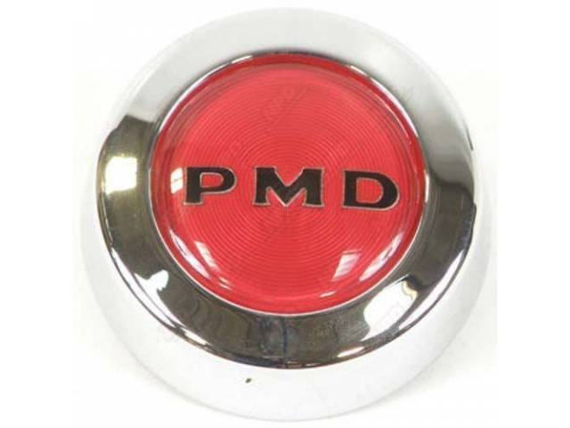 ORNAMENT, Wheel Center, Chrome W/ Red Center and