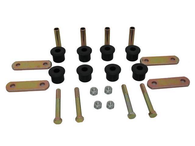 BUSHING AND SHACKLE KIT, Mono-Leaf Spring, Polyurethane, Black, Energy Suspension, Incl shackle bushings, plates and hardware