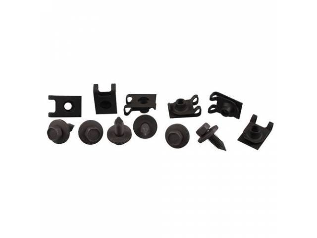 FASTENER KIT, Leaf Spring Mount Bracket, (12) Incl u-nut clips and HX CA CONI screws, OE-correct repro