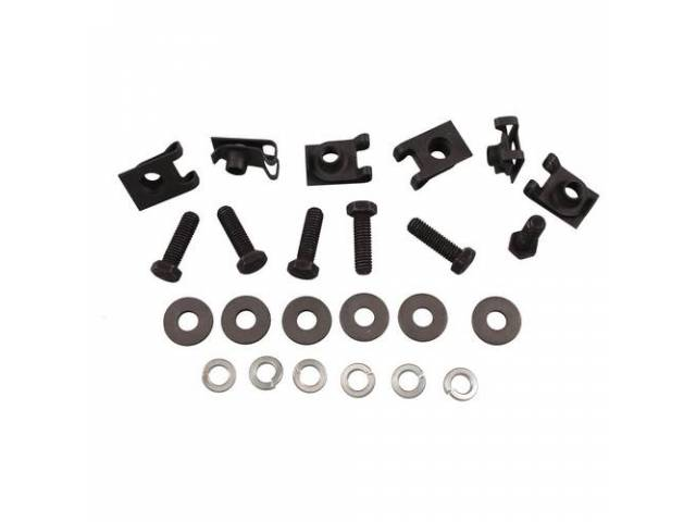 FASTENER KIT, Leaf Spring Mount Bracket, (24) Incl u-nut clips, bolts and washers, OE-correct repro