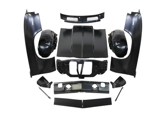 SHEET METAL PACKAGE, Front End, incl fenders, fender extensions, radiator core support, fender to core support braces, inner wheelhouses, cowl vent grille, header panel, valance panel, 2 inch cowl induction hood and hood latch / lock support, all parts ar