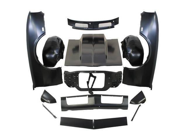SHEET METAL PACKAGE, Front End, incl fenders, fender extensions, radiator core support, fender to core support braces, inner wheelhouses, cowl vent grille, header panel, valance panel, 4 inch cowl induction hood and hood latch / lock support, all parts ar