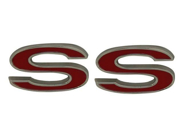 Emblem, Front Fender, *SS*, chrome plated die-cast metal
