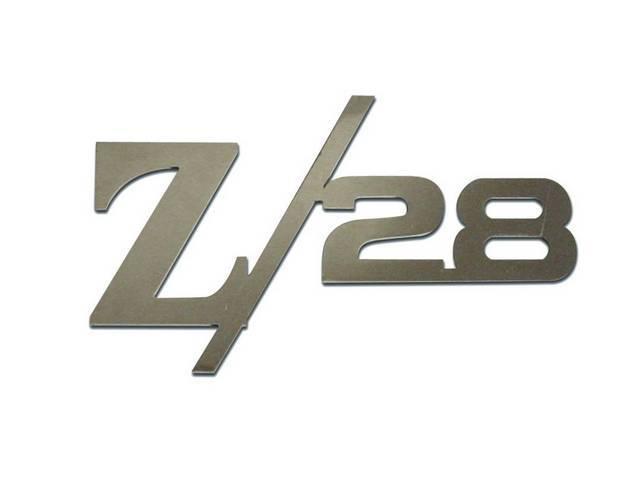 Emblem Set, Front Fender, *Z/28*, Mirror Polished Stainless,