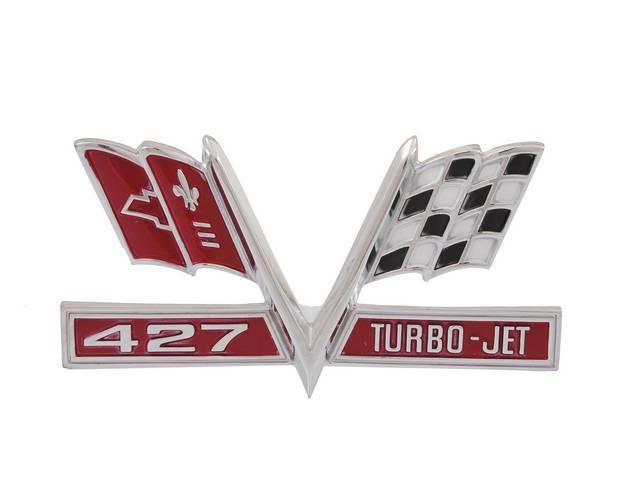 EMBLEM, Front Fender, *427 TurboJet Cross Flags*, has