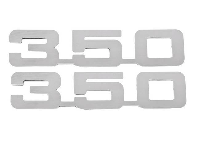 Emblem Set, Fender, *350*, Mirror Polished Stainless, 3M