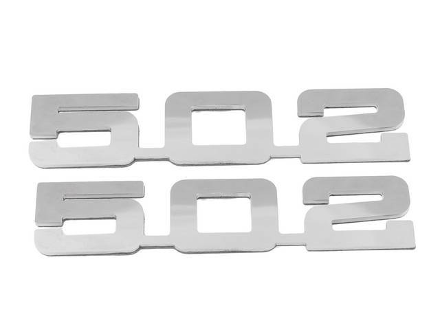 Emblem Set, Fender, *502*, Mirror Polished Stainless, 3M