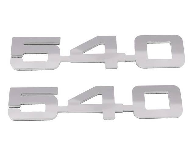 Emblem Set, Fender, *540*, Mirror Polished Stainless, 3M