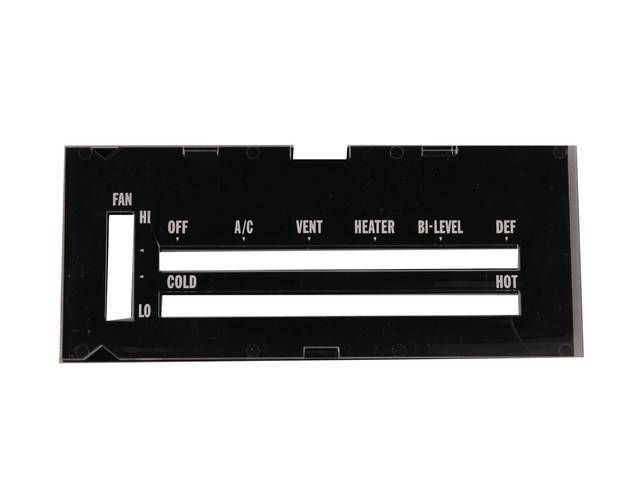 Lens A/C / Heater Control Plate White Lettering