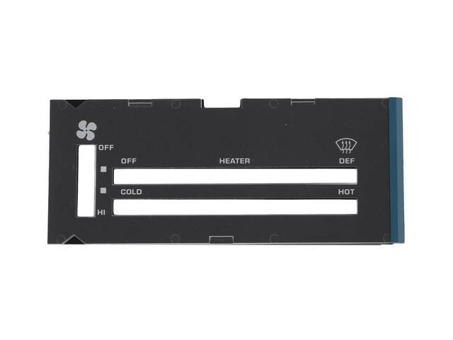 Lens Heater Control Plate White Lettering W/ Moisture