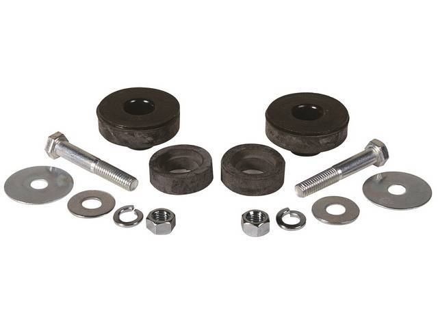 BUSHING AND HARDWARE KIT, Radiator support to frame, Rubber, Incl GM original bushings and replacement-style hardware, Repro
