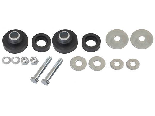BUSHING AND HARDWARE KIT, Radiator support to frame, Rubber, Incl bushings and replacement-style hardware, bushings are stiffer rubber than OE, OER repro