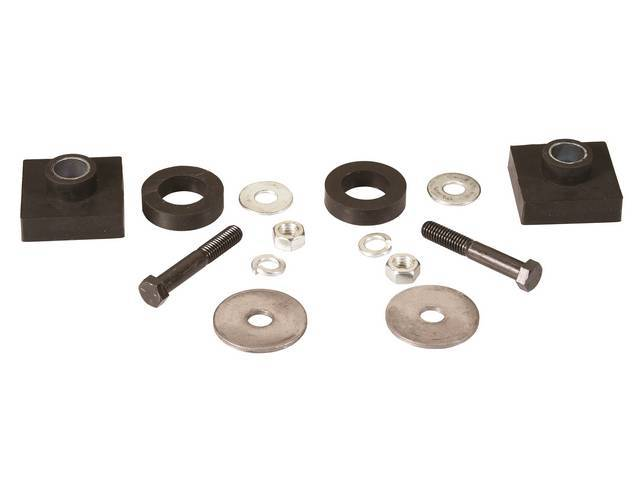 BUSHING KIT, Radiator Core Support, Rubber, incl square style bushings and biscuits plus replacement-style hardware, Repro