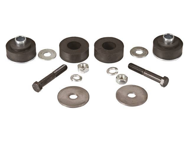 BUSHING KIT, Radiator Core Support, Rubber, incl round style bushings and biscuits plus replacement-style hardware, Repro