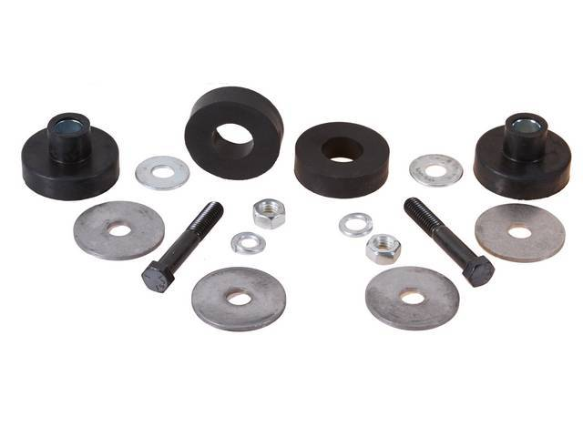 BUSHING KIT, Radiator Core Support, Rubber, incl bushings and biscuits plus replacement-style hardware, Repro