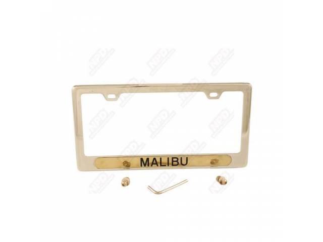 Frame License Plate Gold Frame W/ Malibu Etched