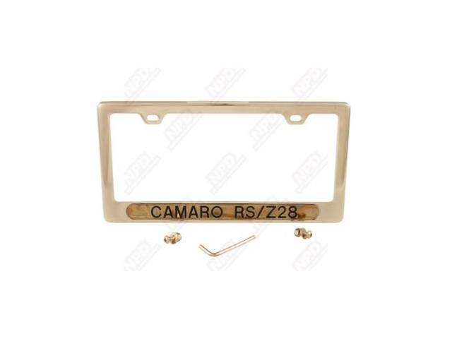 FRAME, License Plate, gold frame w/ *Camaro RS/Z/28*