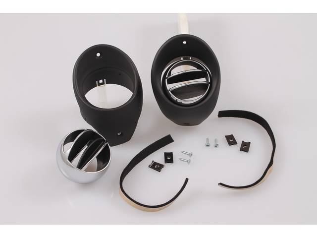 DUCT AND DEFLECTOR ASSY, Dash air outlet, Incl 2 black bezels, 2 Astro chrome finish w/ correct black inlay ventilation balls, 2 Felts and hardware, Repro