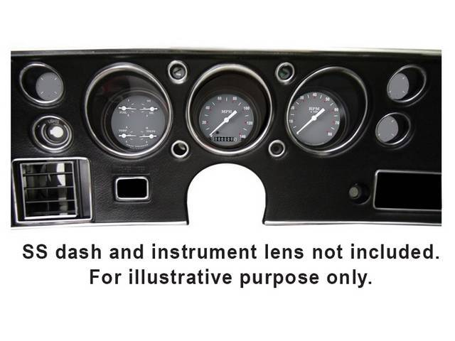 GAUGE KIT, Classic Instruments, SG Series (non-OE style appearance, gauge has white pointer w/ white and red markings on a gray face), incl 3 inch speedometer, 3 inch tachometer and 3 inch quad gauge w/ fuel, oil, temperature and volts gauges, filters for