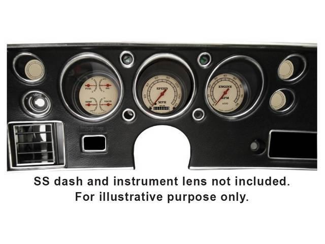 GAUGE KIT, Classic Instruments, Vintage Series (non-OE style appearance, gauge has red pointer w/ black markings on a tan face), incl 3 inch speedometer, 3 inch tachometer and 3 inch quad gauge w/ fuel, oil, temperature and volts gauges, filters for turn