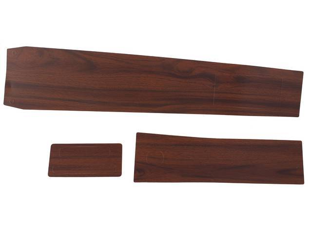 APPLIQUE / INSERT KIT, Console, vinyl wood grain finish overlay, (3) incl main body, shifter and glove box inserts, repro