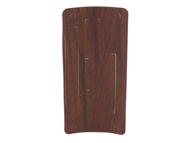 APPLIQUE / INSERT, Console Shifter Plate, vinyl wood grain finish overlay, repro