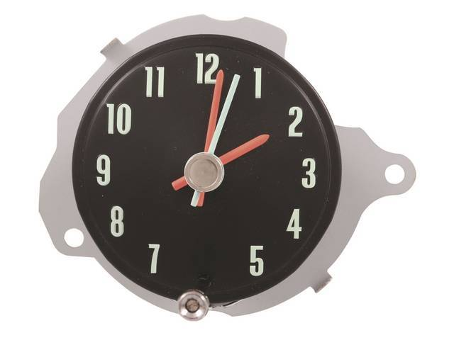 CLOCK, In-Dash, black face w/ correct markings and