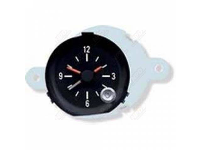 Clock In-Dash Black Face W/ White Markings And