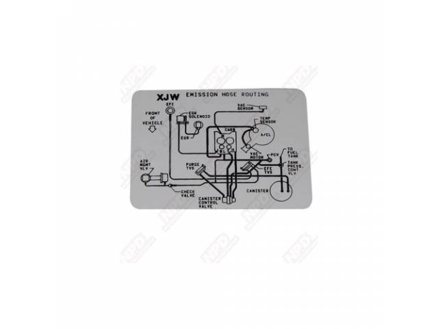 Decal Emission Hose Routing Gm P/N Xjw Repro