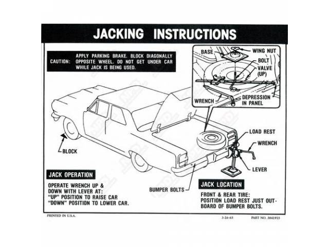 DECAL, JACKING INSTRUCTION