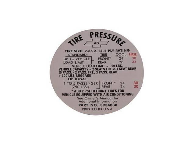 Decal Tire Pressure Regular 735x14 3934880