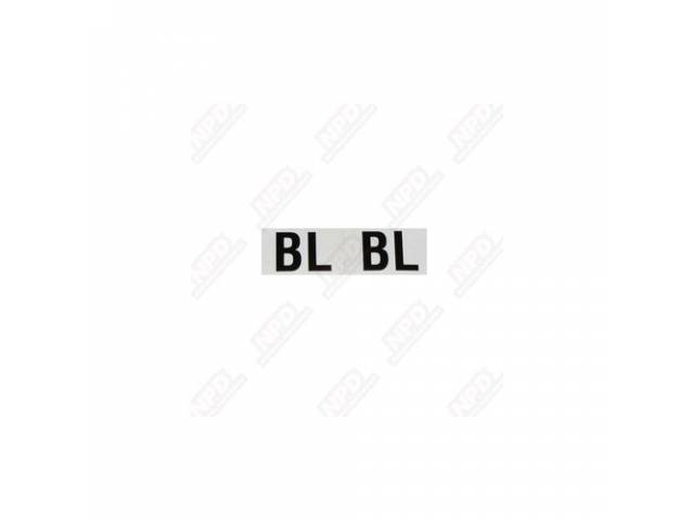 DECAL, Shock, Front, White W/ *BL* in Black