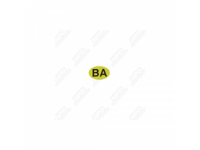 Decal P/S Box Yellow Oval W/ Ba In