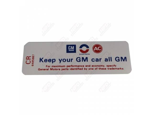 Decal Air Cleaner Keep Your Gm Car All