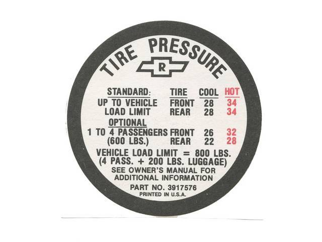 DECAL, TIRE PRESSURE