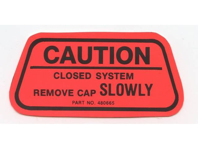 DECAL, Fuel Cap Caution, Red W/ Black Lettering,