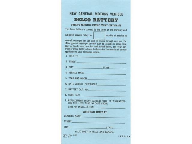 CERTIFICATE, Delco New Car Battery Owner, *748*, repro